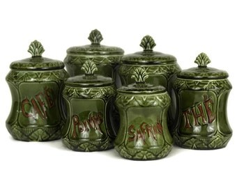 Antique Green Majolica Canister Set. French Coffee and Tea Storage Jars. Flour Canister.