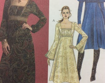 McCall's 5177 UNCUT Dresses in Two Lengths Slightly Flared Empire Bodice Sleeve Variations Sewing Pattern Factory Folds Size 14 16 18 20