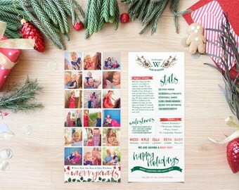 Year in Review Christmas Photo Cards - Instagram - Printable Holiday Cards - Long and Skinny - Tea Length