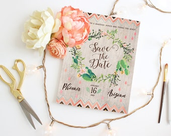 Desert Wedding Save the Dates - Cactus Bloom Floral Wreath Save the Date Cards - Rustic Printable Save the Dates - Instant Download
