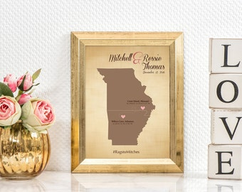 2nd Anniversary cotton wedding gift - cotton anniversary - wedding map - arkansas bride state art