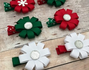Christmas Hair Clips - Small Christmas Bows - Christmas Snowflake Bows for Girls - Red Green Hair Clips - Christmas Accessories - Snowflake