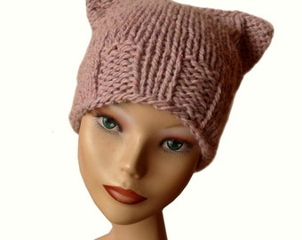 Women beanie hat, Pussy hat, Cat hat, Women winter hat, natural fiber, Pussy Cat Beanie, Chunky Beanie, Pussy Beanie Hat, Pink cat hat