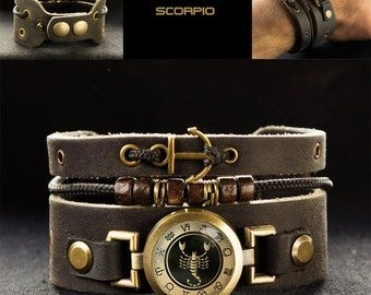 Mens Scorpio Bracelet with Anchor
