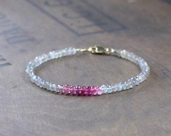 Pink Tourmaline & Labradorite Bracelet in Sterling Silver or Gold Filled, Delicate Grey Pink Gemstone Bracelet, Faceted Labradorite Jewelry