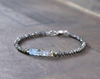 Labradorite, Aquamarine & Pyrite Bracelet, Multi Gemstone Bracelet in Sterling Silver or Gold Filled, Pyrite Jewelry, Faceted Bead Bracelet