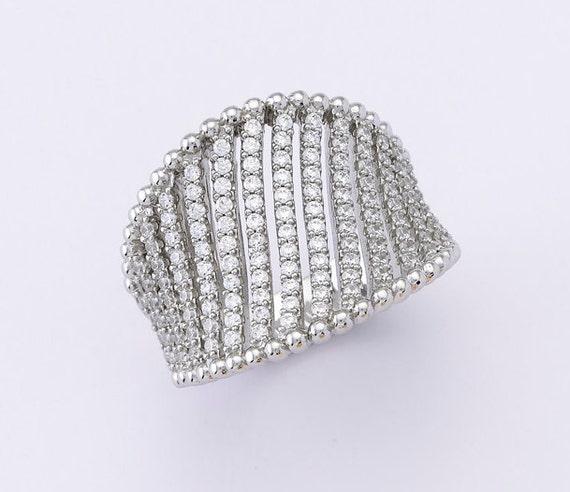 Zircon ring, white zircon fashion ring, statement zircon ring, silver 925 sterling silver zircon ring, gift, line pattern zircon ring