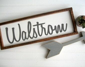 Last Name Sign . Fixer Upper. Family Name Wood Sign . Framed Sign . 19 x 6.5 . Family Name Sign . Wedding . Wood Sign . Farmhouse Decor