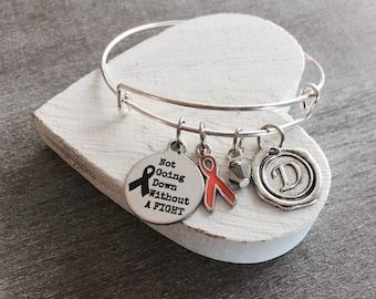 Not going down without a fight, Silver Bracelet, Fighter, Survivor, Cancer, Orange Ribbon, Awareness Ribbon, Cancer Survivor, Leukemia, Gift