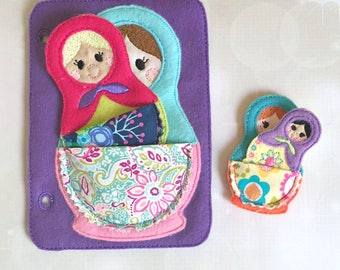 Quiet Book Page - Busy Book - Pre School Learning - Nesting Dolls Page- Toddler Learning - Kids Activity Pages - Felt Toys - Learning Toys