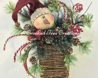 Snowman Basket, Christmas Basket, Snowman Wreath, Christmas Wreath, Holiday Wreath, Snowman Door Decor, Holiday Basket, Snowman, Winter