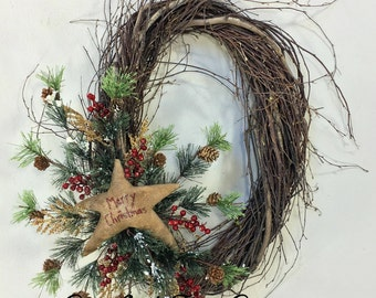 Christmas Wreath, Holiday Wreath, Star Wreath, Holiday Door Decor, Christmas Decor, Winter Wreath, Christmas Wreaths, Birch, Star, Woodland