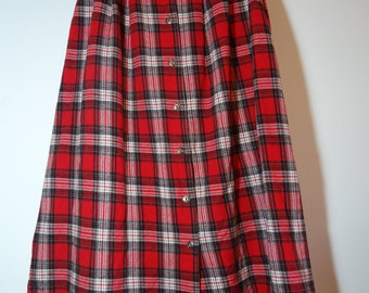 True Vintage 90s Red Lumberjack Plaid Flannel Maxi Skirt Grunge Fashion Style, Buffalo Plaid