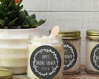 8 oz Sugar Scrub Favors - Laurel Chalkboard Label | Bridal Shower Favors | Mason Jar Favors | Rustic Favors - All Natural - Set of 6
