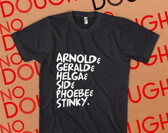 Hey Arnold BLACK T-Shirt - 90s Cartoons Nickelodeon Nick TV Shows
