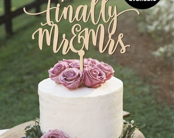 Finally Mr and Mrs Cake Topper, Bridal Shower Cake Topper, Wooden Cake Toppers, Gold Cake topper, Gold Sparkles, Silver Cake Topper, CT-013