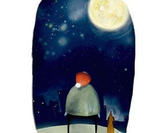 Stargazer illustration A4 Print