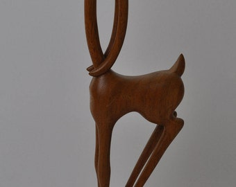 Vintage Hand Carved Wooden Tribal Art African Deer Statue Figure Home Decor Manzo