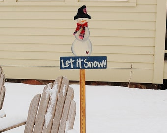 Snowman Yard Stick, Winter Let It Snow Wood Yard Sign, Hand Painted Snow Measuring Stick, Farmhouse Garden Decor Outdoor Decor, Gift for Her
