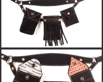 Upcycled Black Suede Fringe Hip Holster | | Repurposed Suede Leather Utility Belt | Fanny Pack | Belt Bag | Hip Purse | Phone Holster