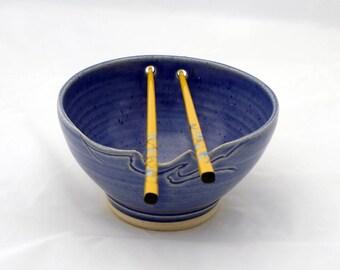 Chopstick Bowl, Royal Blue, Carved Rim Design, Ceramic, Pottery Noodle bowl, Rice Bowl,  White Stoneware, Thrown and Carved, Microwave Safe
