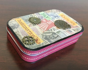 Decorated Altoid Tin - Postage Stamps with embellishments, unique gift box or organizer. 3.75 in x 2.5 in x 1 in