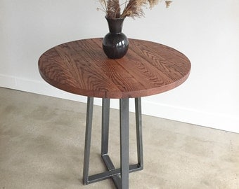 Round Bar Height Table With Reclaimed Wood Top And Industrial Metal  Pedestal Base