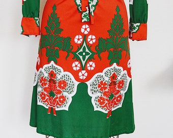 1970's Tomatoe Garden || Designer Dress || Made in Italy || S-M ||