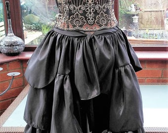 boned black satin corset and frilled bustle skirt halloween day of the dead dracula bride zombie boned corset with long satin bustle skirt