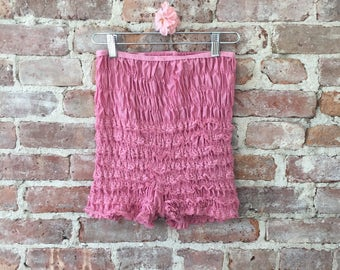Dusty Rose Ruffle Petti Pants - Vintage Pink Ruffle Shorts - Square Dance Shorts-  Best Selling Vintage