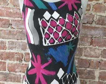 S / Geometric Bodysuit / 80s One Piece Bodysuit / Leotard / Active Wear / Unitard / Jazzercise / FREE USA Shipping