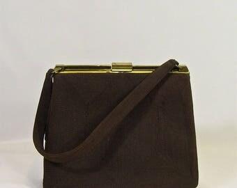 1940s Vintage Brown Corde Handbag Purse