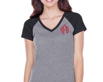 Monogram Raglan T Shirt | Three Quarter Sleeve | Short Sleeve | Raglan V Neck | Monogram Baseball Tee | Baseball T Shirt | Personalized Tee