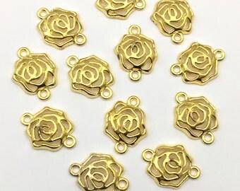 12 flowers connectors gold tone 16mm x 20mm #CON 176