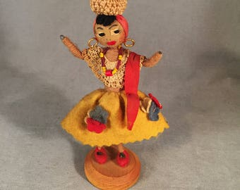 Charming Brazilian Souvenir Pipe Cleaner, Wired Native Woman Folk Art Doll, Felt, Glass Beads, Rare