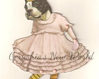 NEW - Dancing Fiona- Articulated Paper Doll and Matching Print, Boston Terrier, Dancing Dog, Art Print