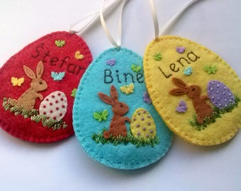 Personalised Easter ornament, Personalized Easter Egg, Felt Egg Easter Candy Holder, Personalised Easter gift, Embroidered Name
