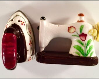 Vintage SEWING Machine & IRON Adorable Hand Painted Salt and Pepper Set - Never Used - COLLECTOR Set