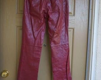 Armani Exchange small size 4 burgundy leather pants womens