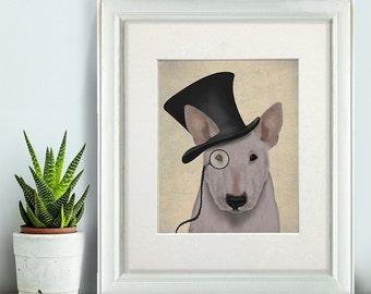 English bull terrier gift - Formal bull terrier art - funny bull terrier owner gift for bull terrier lover classy dog monocle funny dog art