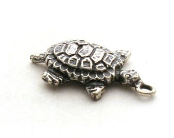 Sterling Silver Turtle Bracelet Charm Box Diamondback