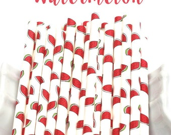 WATERMELON Paper Straws Multipack, Fruit straws, Pool Party, Summer Party, Tutti Fruity, 25 Straws, Party