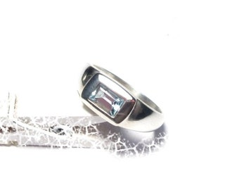 Silver ring Topaz Gr. 56 sterling silver ring Topaz precious stone, US size 7.6 UK size P