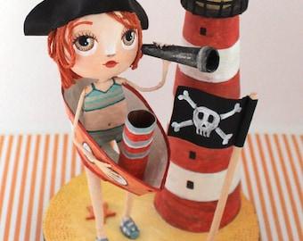 "Sculpture ""Pirate"", ORIGINAL illustration ""MOM p' little boats"" ANATOPIK, OOAK doll clothing"