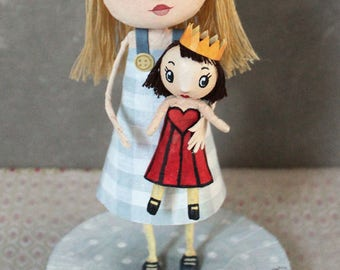 Alice and her doll Queen of hearts, OOAK DOLL