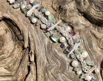 Rainbow pebbles and pearls rivulet bracelet