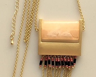 Long Chain Art Deco Style Necklace - Long Brass Chain, Matte Gold Brass and Rose Quartz Like Pendant With Chain Dangles