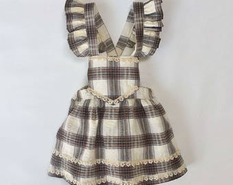 Plaid Vintage Style Pinafore Toddler Skirt - 2T