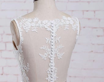 A Line Beach Wedding Dress with Sheer Neckline Lace Wedding Dress A Line Wedding Dress Summer Wedding Dress