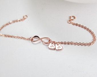 Rose gold Infinity Bracelet, rose heart bracelet,Stamped initial Heart , Couple Initial Heart. Eternity, Bridesmaid Gift,gift for women